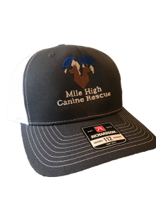 Black and white trucker hat with Mile High logo